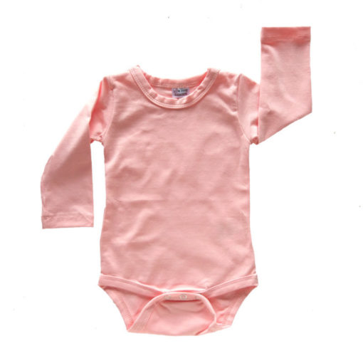 Peachy Pink Long Sleeve Onesie Romper Bodysuit Wholesale