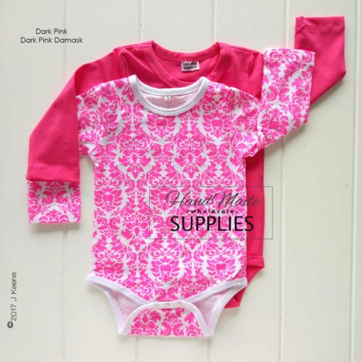 Dark Pink Long Sleeve Bodysuit - Pictured with Dark Pink Damask Long Sleeve Bodysuit - 180 - 220GSM Weight – lightweight - 95% Cotton 5% Elastane - Self fabric bias binding - Double needle stitching - 3 Crotch Snap Studs - Low Fire Danger Warning Label
