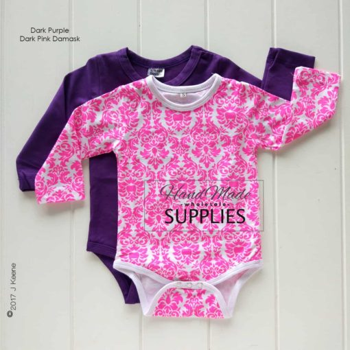 Dark Purple Long Sleeve Bodysuit - Pictured with Dark Pink Damask Long Sleeve Bodysuit - 180 - 220GSM Weight – lightweight - 95% Cotton 5% Elastane - Self fabric bias binding - Double needle stitching - 3 Crotch Snap Studs - Low Fire Danger Warning Label