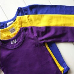 Dark Purple Long Sleeve Bodysuit - Pictured with Wiggle Yellow, Royal Blue Long Sleeve Bodysuits - 180 - 220GSM Weight – lightweight - 95% Cotton 5% Elastane - Self fabric bias binding - Double needle stitching - 3 Crotch Snap Studs - Low Fire Danger Warning Label - Wiggle Colours Style Idea ** Other colours not included **