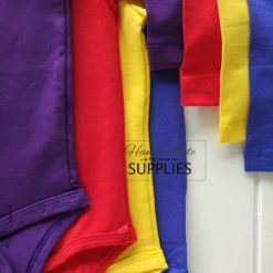 Red Long Sleeve Bodysuit - Pictured with Purple, Wiggle Yellow, Royal Blue Long Sleeve Bodysuits. 180 - 220GSM Weight – lightweight - 95% Cotton 5% Elastane - Self fabric bias binding - Double needle stitching - 3 Crotch Snap Studs - Low Fire Danger Warning Label - Wiggle Colours Style Idea ** Other colours not included **