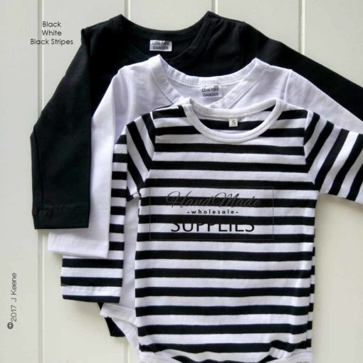 White Long Sleeve Bodysuit- Pictured with Black Stripe and Plain Black Long Sleeve Body Suit - 180 - 220GSM Weight – lightweight - 95% Cotton 5% Elastane - Self fabric bias binding - Double needle stitching - 3 Crotch Snap Studs - Low Fire Danger Warning Label