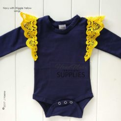 Navy Long Sleeve Bodysuit - Pictured with Wiggle Yellow Wings - 180 - 220GSM Weight – lightweight - 95% Cotton 5% Elastane - Self fabric bias binding - Double needle stitching - 3 Crotch Snap Studs - Low Fire Danger Warning Label