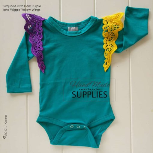 Turquoise Long Sleeve Bodysuit - Pictured with Purple and Yellow Pixie Wings - 180 - 220GSM Weight – lightweight - 95% Cotton 5% Elastane - Self fabric bias binding - Double needle stitching - 3 Crotch Snap Studs - Low Fire Danger Warning Label ** Pixie Wings Not Included **