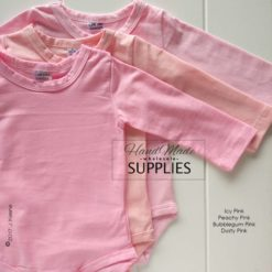 Icy Pink, Peachy Pink and Bubblegum Pink Long Sleeve Bodysuits - 180 - 220GSM Weight – lightweight - 95% Cotton 5% Elastane - Self fabric bias binding - Double needle stitching - 3 Crotch Snap Studs - Low Fire Danger Warning Label