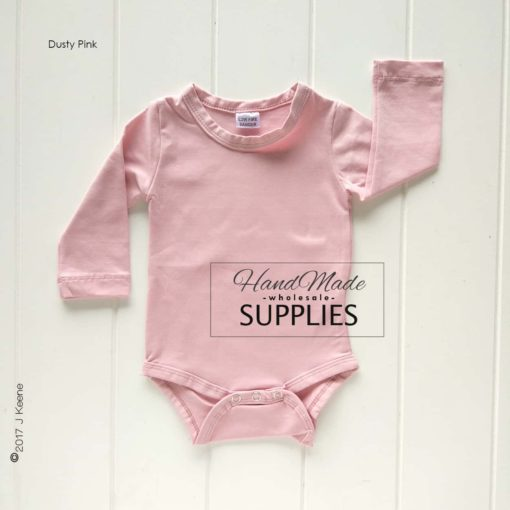 Dusty Pink Long Sleeve Bodysuit - 180 - 220GSM Weight – lightweight - 95% Cotton 5% Elastane - Self fabric bias binding - Double needle stitching - 3 Crotch Snap Studs - Low Fire Danger Warning Label