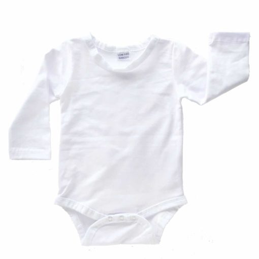 White Long Sleeve Onesie Romper Bodysuit Wholesale