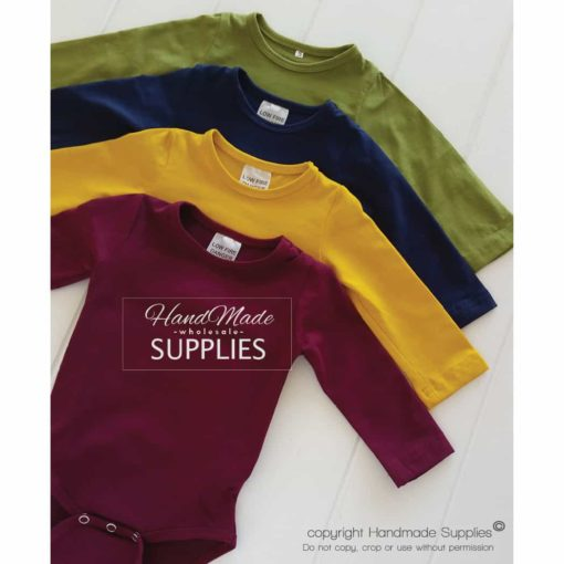 Mustard Long Sleeve Bodysuit - Pictured with Wine, Navy and Olive Long Sleeve Bodysuits - 180 - 220GSM Weight – lightweight - 95% Cotton 5% Elastane - Self fabric bias binding - Double needle stitching - 3 Crotch Snap Studs - Low Fire Danger Warning Label