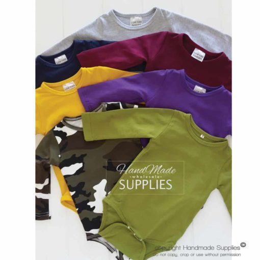 Mustard Long Sleeve Bodysuit - Pictured with Camo, Purple, Mustard, Wine, Navy and Light Frosted Grey Bodysuits - 180 - 220GSM Weight – lightweight - 95% Cotton 5% Elastane - Self fabric bias binding - Double needle stitching - 3 Crotch Snap Studs - Low Fire Danger Warning Label