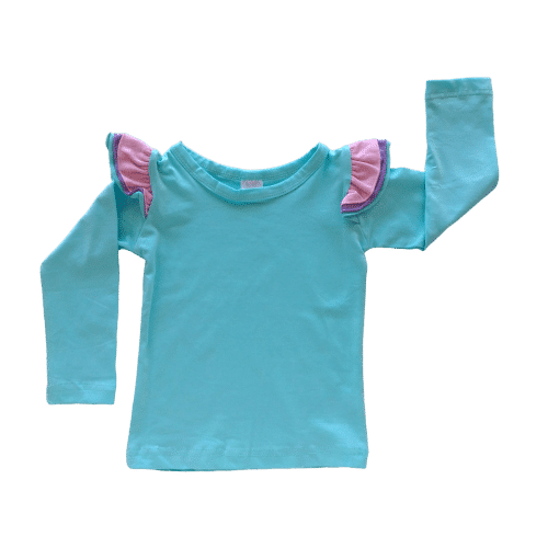 Llight Blue Triflutter long sleeve flutter top australia