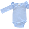 Baby Blue Long Sleeve flutter onesie Bodysuit wholesale1