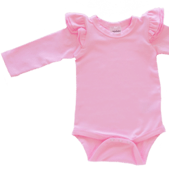 Bubblegum PInk Long Sleeve flutter onesie Bodysuit wholesale