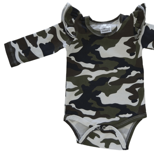 Camo Long Sleeve flutter onesie Bodysuit wholesale