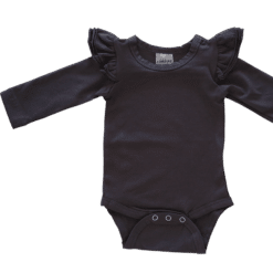 Charcoal Long Sleeve flutter onesie Bodysuit wholesale