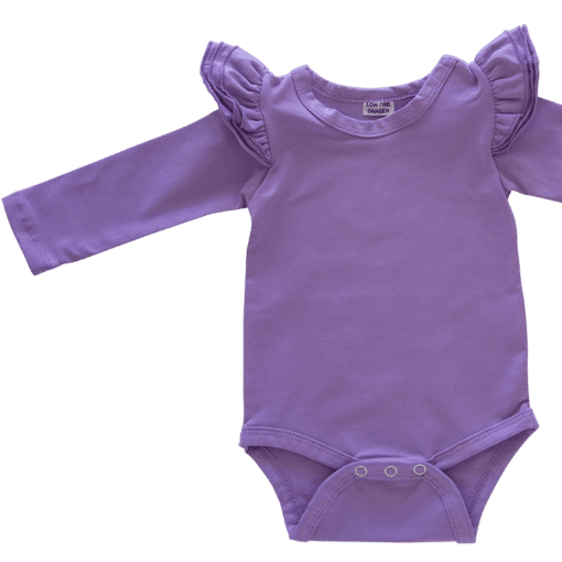 Lavender Purple Long Sleeve flutter onesie Bodysuit wholesale