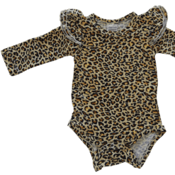 Leopard Print Long Sleeve flutter onesie Bodysuit wholesale