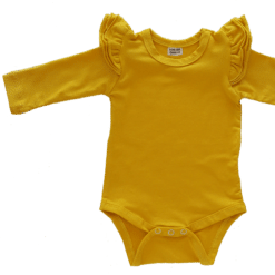 Mustard Long Sleeve flutter onesie Bodysuit wholesale
