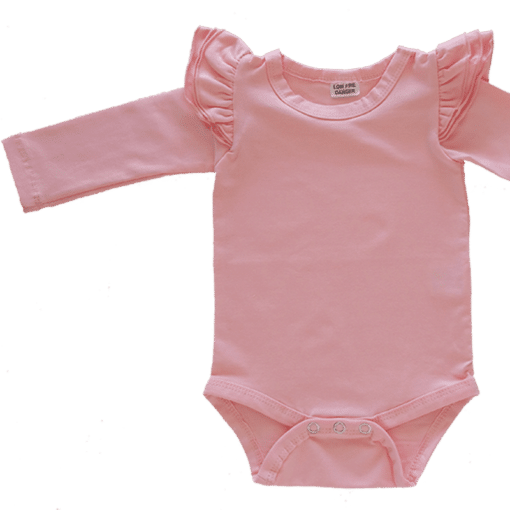 Peachy Pink Long Sleeve flutter onesie Bodysuit wholesale