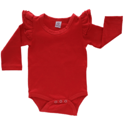 Red Long Sleeve flutter onesie Bodysuit wholesale