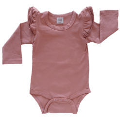 Spanish Pink Long Sleeve flutter onesie Bodysuit wholesale