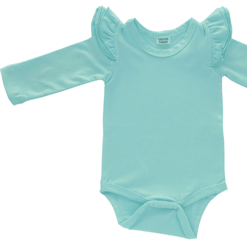 Tiffany Blue Long Sleeve flutter onesie Bodysuit wholesale
