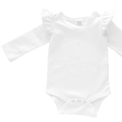 White Long Sleeve flutter onesie Bodysuit wholesale