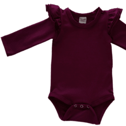 Wine Long Sleeve flutter onesie Bodysuit wholesale