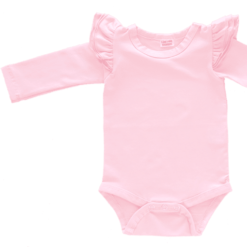 light pink Long Sleeve flutter onesie Bodysuit wholesale