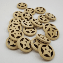 Star Wooden Button 20mm 20pk