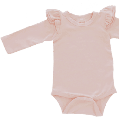 peach Long Sleeve flutter onesie Bodysuit wholesale