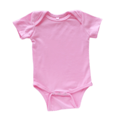 Envelope neck short sleeve onesie bubblegum pink
