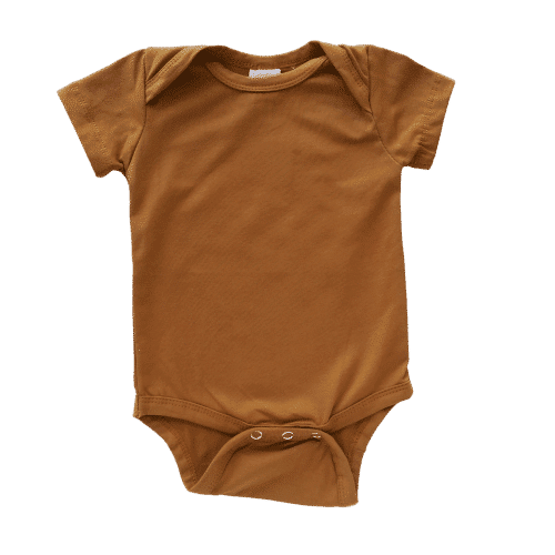 Envelope neck short sleeve onesie saddle brown