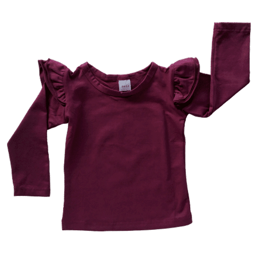 Long Sleeve Wine Fluttertop
