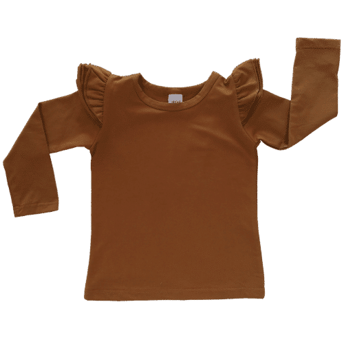 Saddle Brown Long sleeve Fluttertop