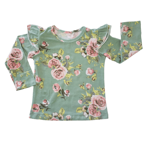 Green Floral long sleeve fluttertop