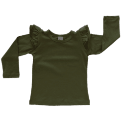 Army Green Long Sleeve Fluttertop