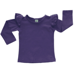 Dark Purple Long Sleeve Fluttertop