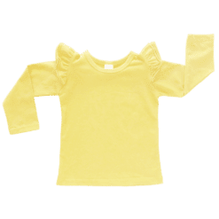 Lemon Yellow Long Sleeve Fluttertop