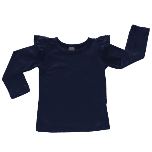 Navy Long Sleeve Fluttertop
